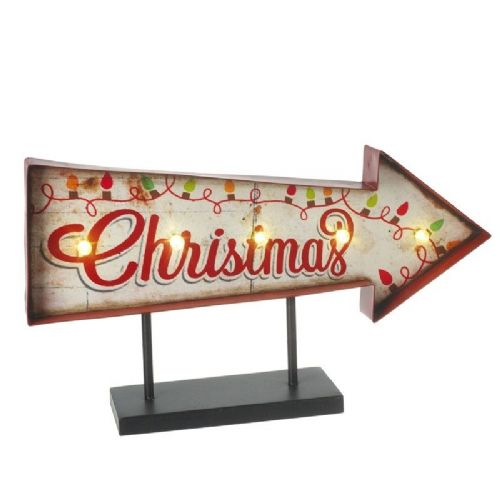 Retro Christmas Light Up LED Metal Table Sign